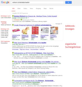 Die Google Suche mit Adwords und organischen Suchergebnissen