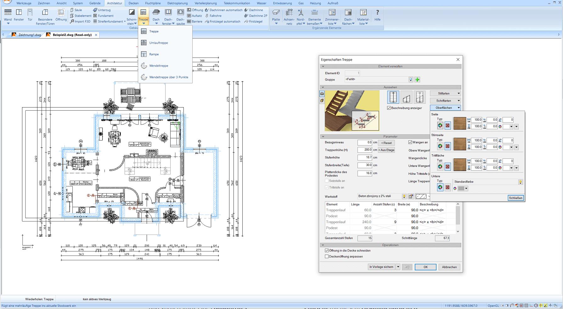 Die Benutzeroberfläche des Programms mit geöffneten Treppen-Editor