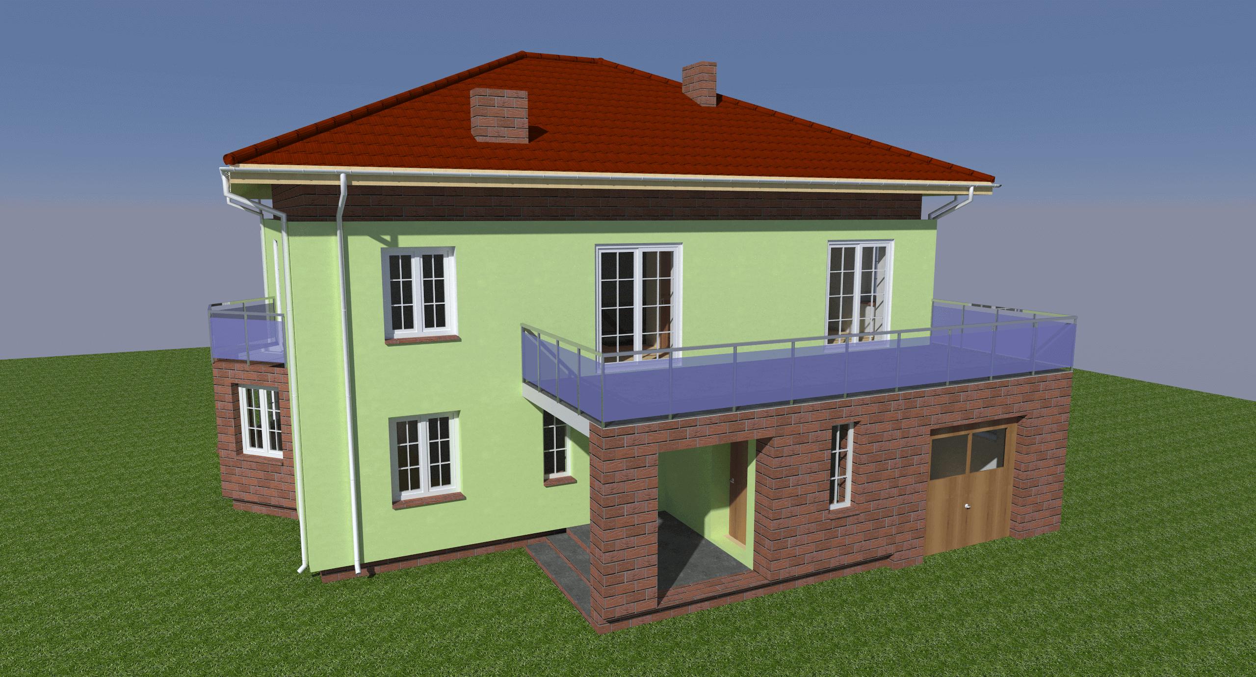 Ein erstelltes 3D Rendering von einem Einfamilienhaus
